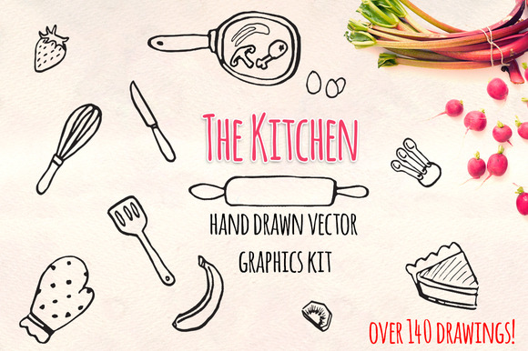 The Kitchen 140 Handdrawn Graphics