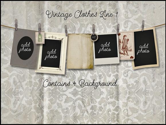 Vintage Clothes Line Photo Mockup