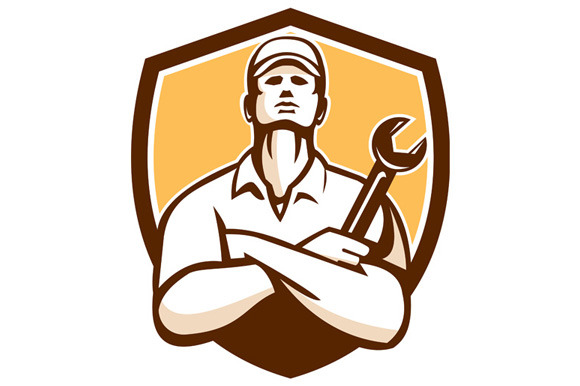 Mechanic Arms Crossed Wrench Shield