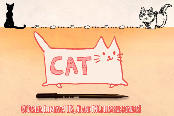 Cat Vector Graphics Pack 60 Sketches
