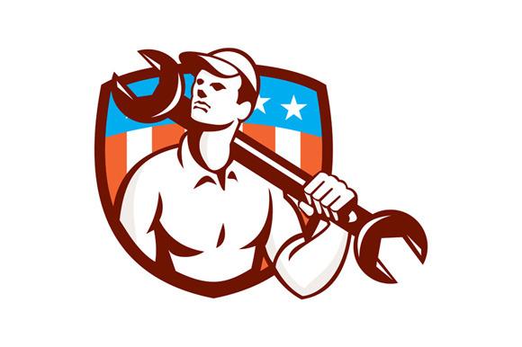 Mechanic Spanner Wrench USA Flag Ret