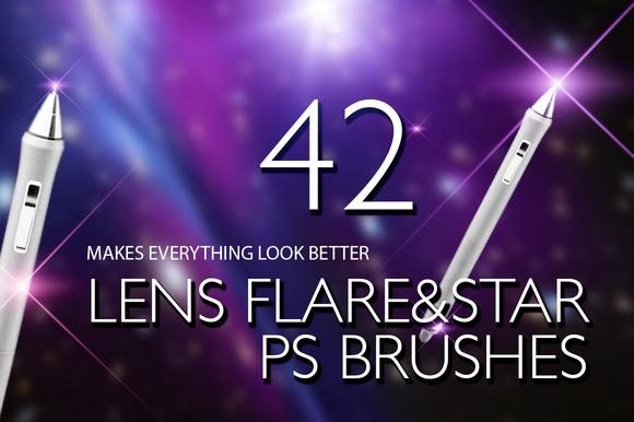 Lens Flare Stars Photoshop Brushes