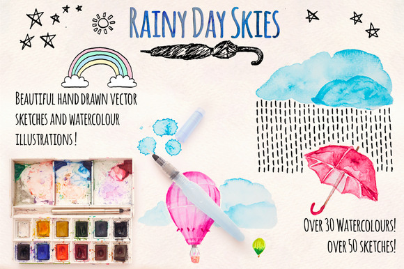 Rainy Sky Element Pack 80 Graphics