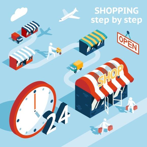 Cartooned Shopping Concept Design