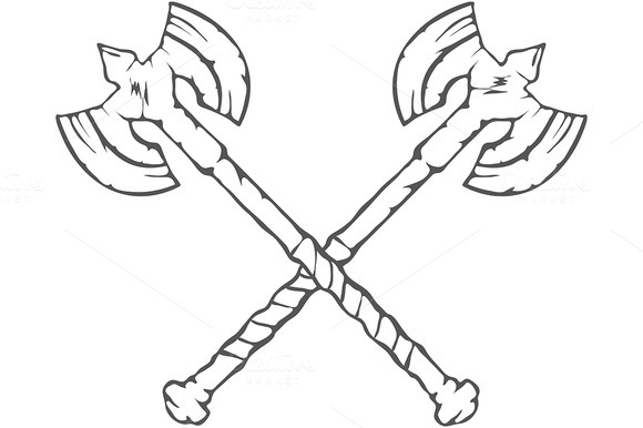 Hand Drawn Crossed Battle Axes