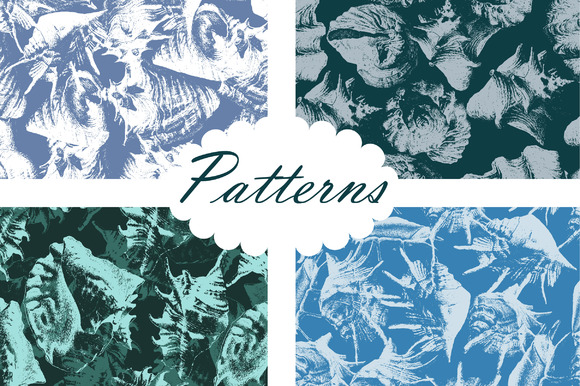 4 Seamless Patterns With Shells
