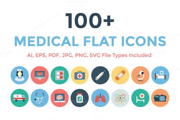 100 Medical Flat Icons