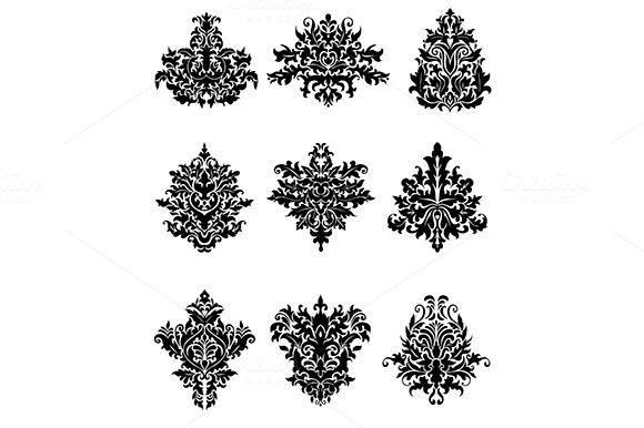 Black Flowers In Retro Damask Style