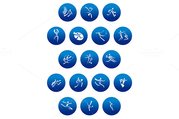 Blue Icons With White Sportsmen