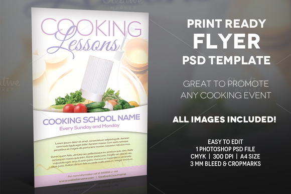 Cooking Lessons A4 Flyer Template