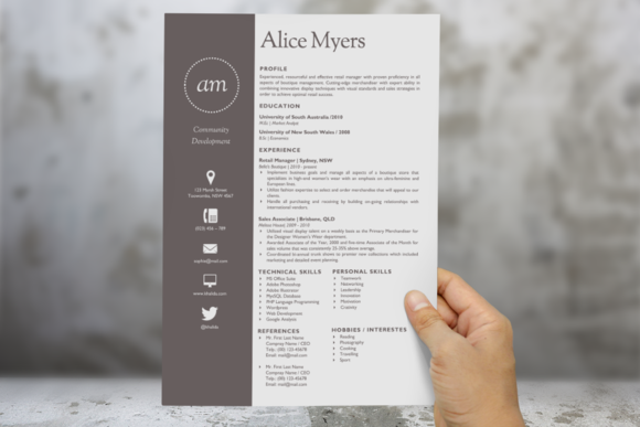 Dot Round Initials Word Resume
