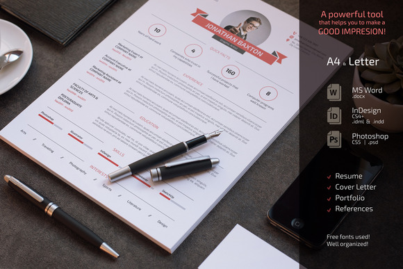 Clean And Simple Resume CV Set