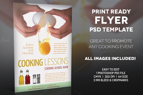 Cooking Lessons 2- A4 Flyer Template
