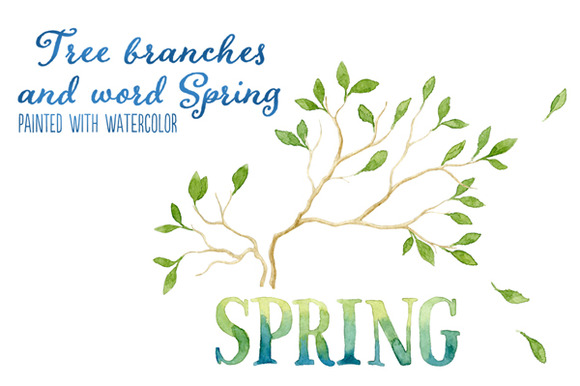 Word SPRING And 2 Tree Branches
