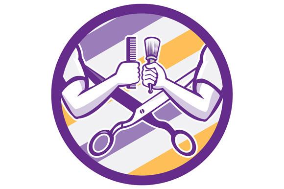 Barber Hand Comb Brush Scissors Circ