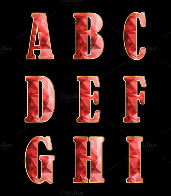 Golden Alphabet With Crystals