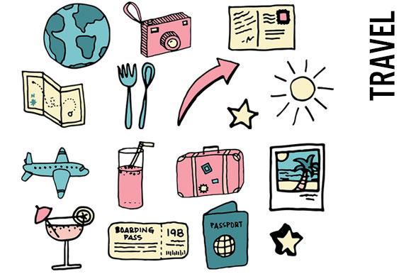 Travel Doodle Clipart
