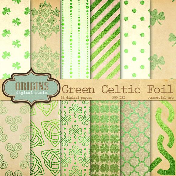 Celtic Green Foil Digital Paper