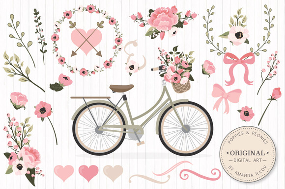 Soft Pink Vector Bicycle Flowers