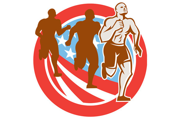 American Crossfit Runners USA Flag C