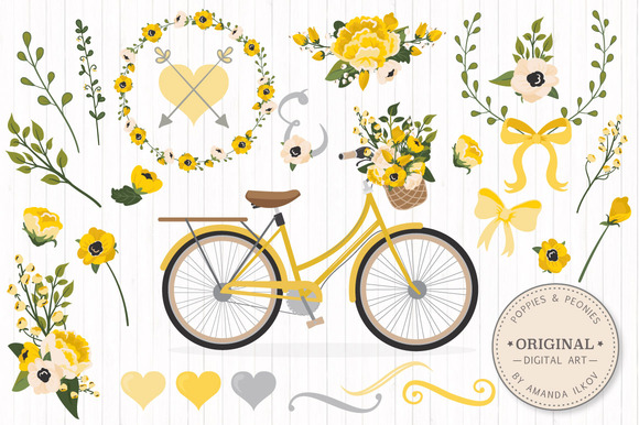 Yellow Romantic Bicycle Flowers