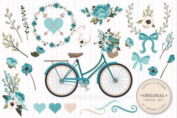 Vintage Blue Vector Bicycle Flower