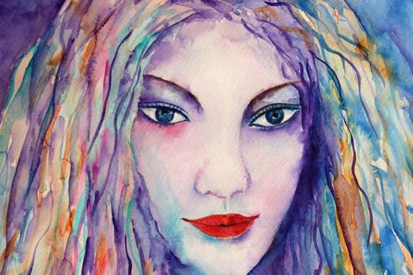 Watercolor Female Portrait Blue