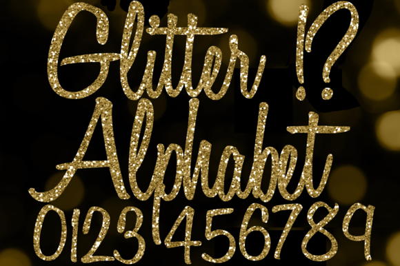 Fancy Gold Glitter Alphabet Clipart