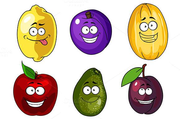 Cartoon Apple Plums Melon Lemon A