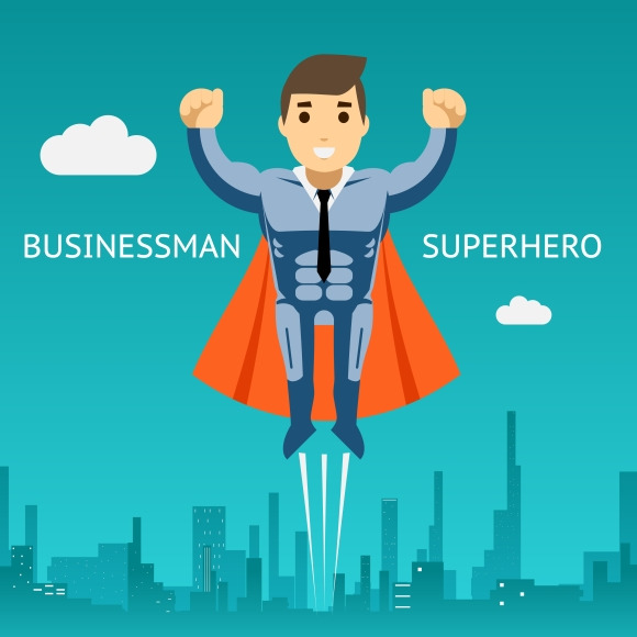 Cartooned Superhero Businessman