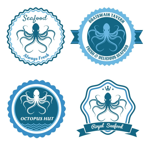 Octopus Sea Food Logo Or Badge Set