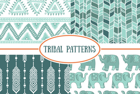Set Of Tribal Seamless Patterns