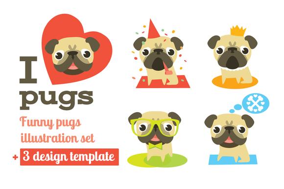 Vector Pugs 3 Design Templates