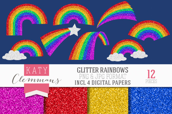 Glitter Rainbows Clip Art Papers