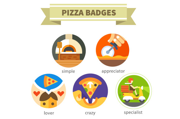 Pizza Badges Delivery Food
