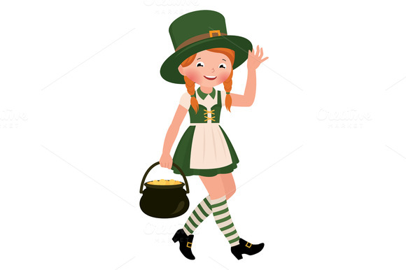 Girl Dressed As Saint Patrick Day