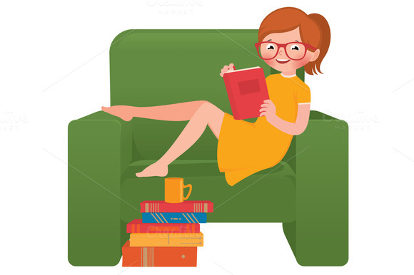 Girl Reading A Book Sitting In A Cha