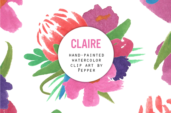 Claire Watercolor Clipart