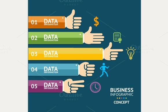 Vector Business Infographics Hands