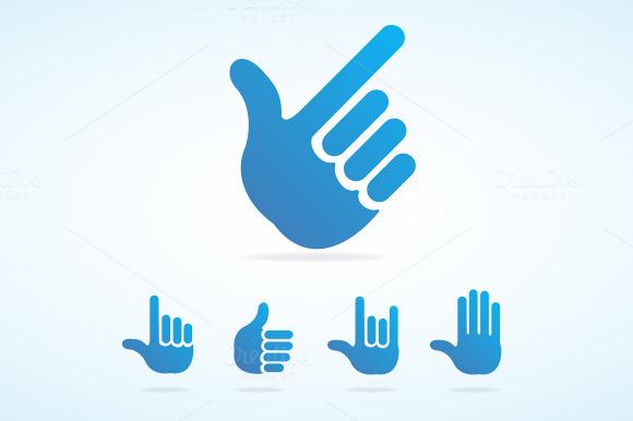 Vector Flat Hand Icon Set