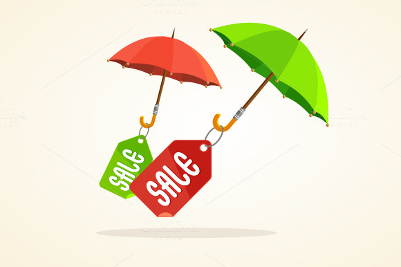 Vector Umbrellas With Sale Stickers