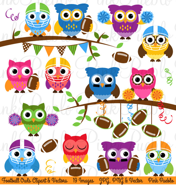 Football Sports Owl Clipart Vector