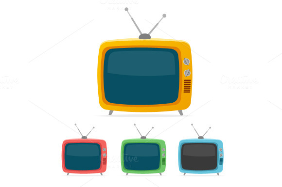 Vector Retro Tv Set Flat Design