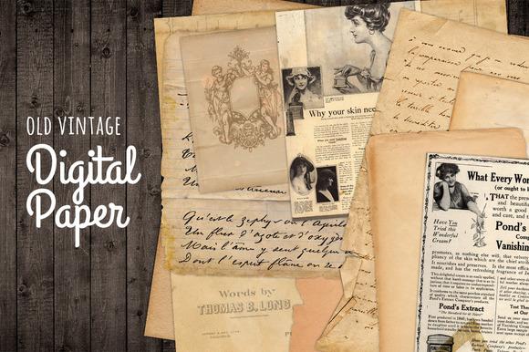 Old Vintage Paper Ads Letters Grunge