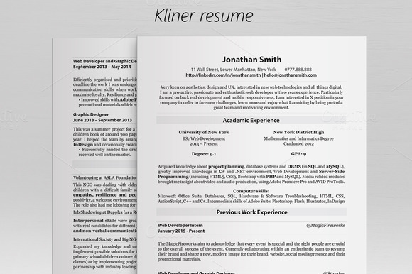 Kliner Simple Minimal Clean Resume
