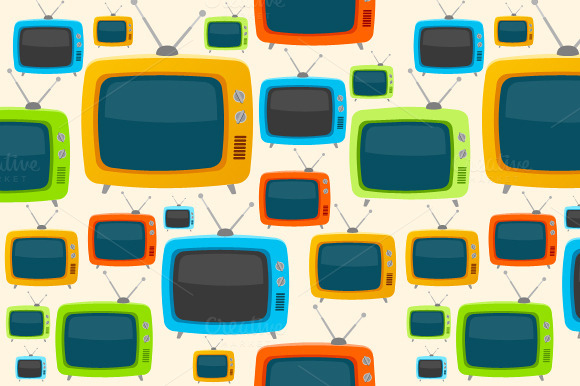 Vector Retro Tv Seamless Pattern
