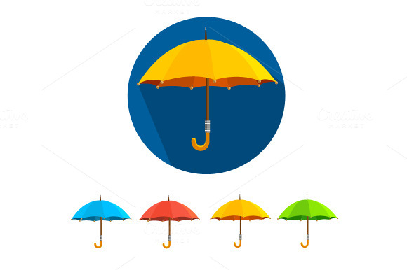 Vector Colorful Umbrellas Set Flat