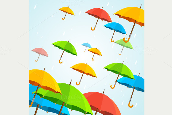 Vector Colorful Umbrellas Fly Flat