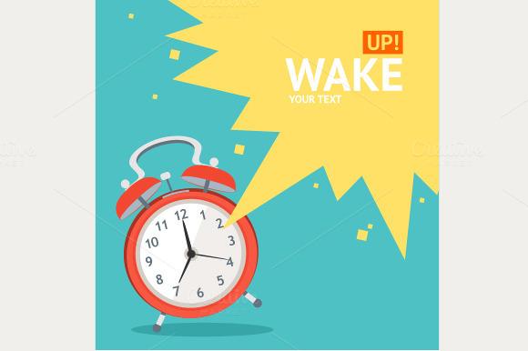 Vector Wakeup Clock Card Set Flat