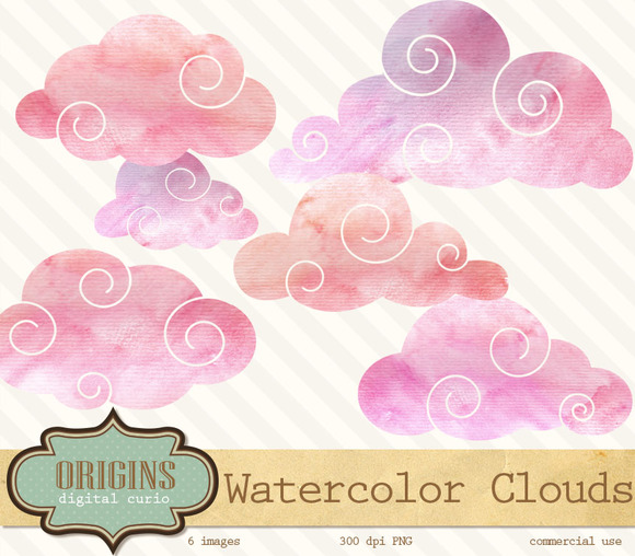 Pink Watercolor Clouds Clipart